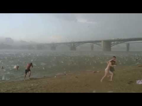 A sudden hail storm in Russia (Novosibirsk) 12.07.2014 | Вне