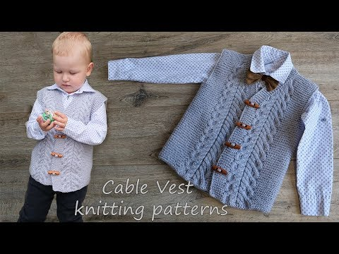 Жилет с косами мальчику спицами | Cable Vest Knitting Patterns