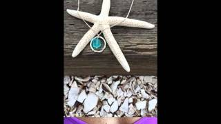 Ocean Waves Sea Glass Pendant Necklace, Handmade Silver Plated Jewelry, Turquoise Colored Bead