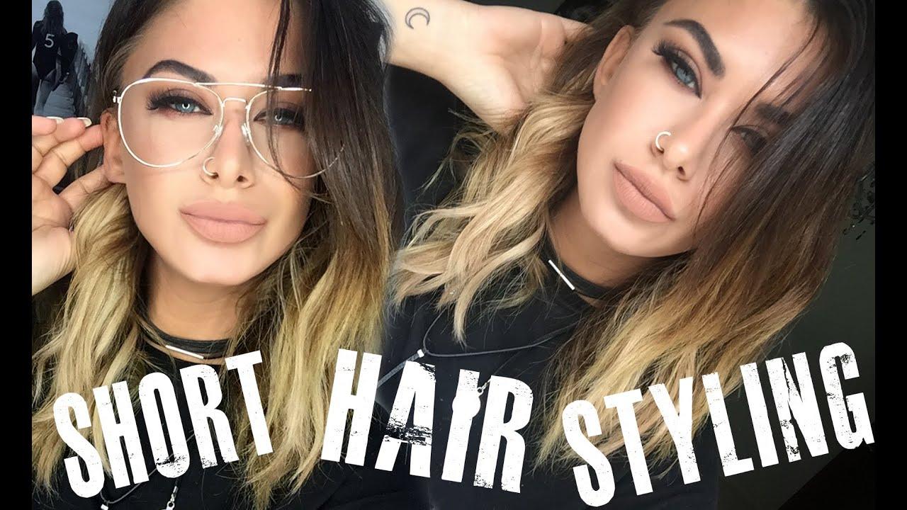How I style my SHORT hair , Long bob , Khloe Kardashian style waves