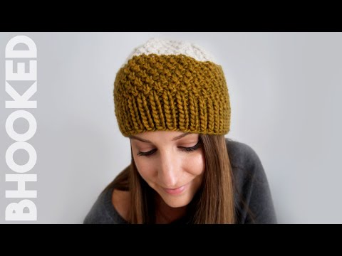 Double Moss Stitch Knit Hat - Tutorial for Beginners
