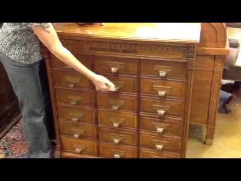 Antique furniture, unusual oak filing cabinet
