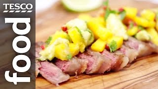 How To Cook Bbq Steak With Lime Marinade And Mango Salsa | Tesco Food