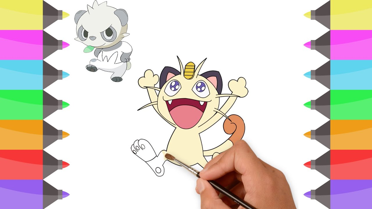 How To Draw Pokemon Meowth Colouring Book For Kids