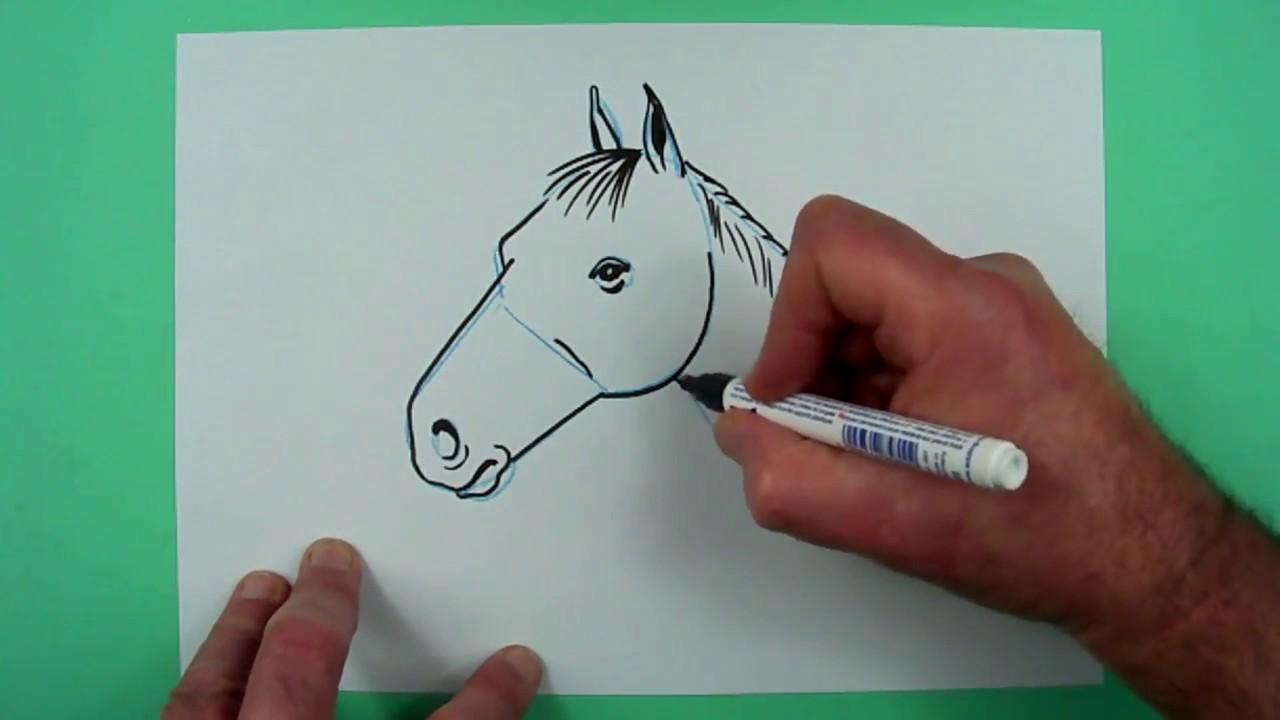 wie zeichnet man ganz leicht einen pferdekopf zeichnen f r kinder youtube. Black Bedroom Furniture Sets. Home Design Ideas