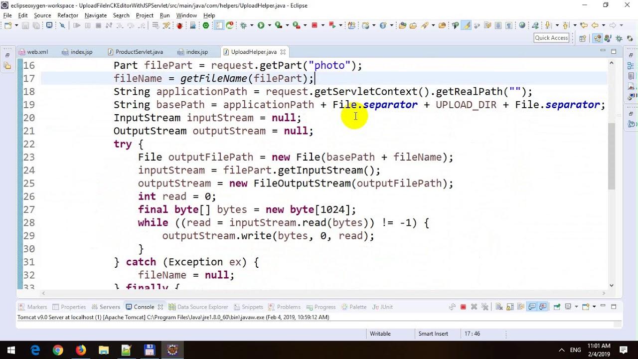 Upload File in CKEditor in JSP-Servlet