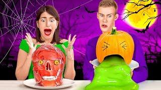 TANTANGAN MAKANAN HALLOWEEN VS ASLINYA SELAMA 24 JAM! DIY Camilan Halloween oleh 123 GO! CHALLENGE