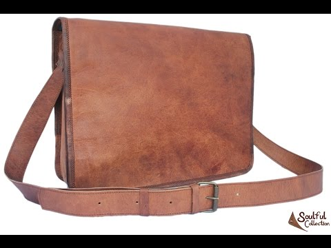 "Brown Leather Messenger Bag 15"" - Soulful Collection"