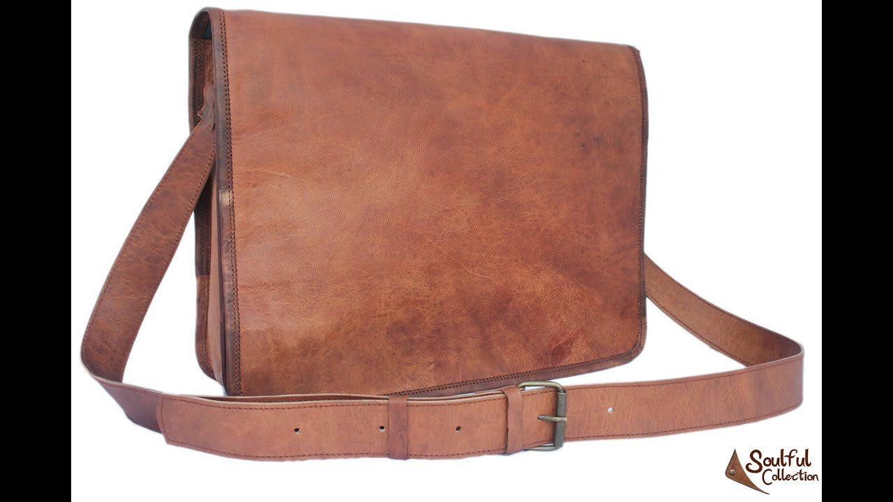 Brown Leather Messenger Bag 15 Quot Soulful Collection Youtube