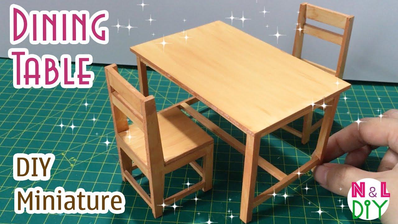 How to make miniature furniture Doll Diy Miniature Dining Table How To Make Dining Table For Dollhouse Youtube Diy Miniature Dining Table How To Make Dining Table For
