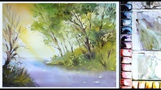 That easy and simple for landscape watercolor painting