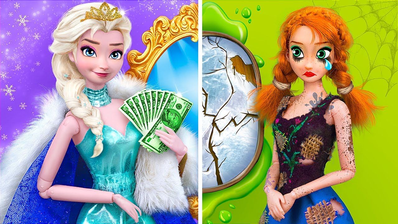 Download Rich Elsa vs Broke Anna / 9 Frozen DIYs