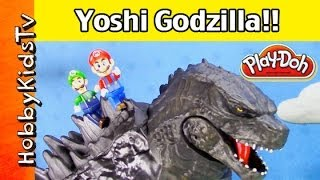 Huge Godzilla Toy Takes On Super Mario World and Smashes Play-Doh with HobbyKids