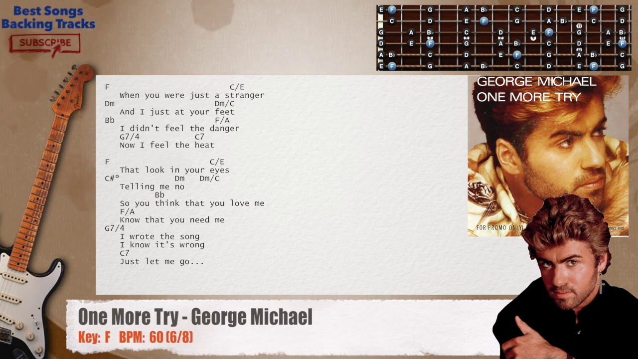 One More Try - George Michael Guitar Backing Track with chords and lyrics