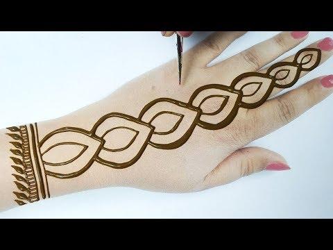 आसान मेहँदी लगाना सीखे - Valentine Special New Mehndi Design for Hands Step by Step