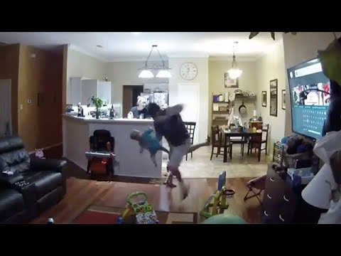 Epic dad Reflexes Saves Falling Baby