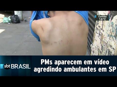PMs aparecem em vídeo agredindo ambulantes em São Paulo | SBT Brasil (20/08/18)
