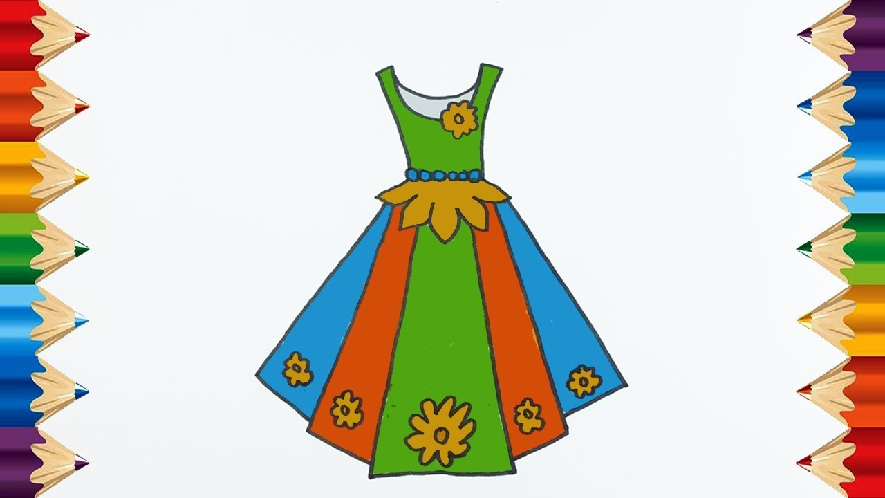 coloring pages dresses for girls l drawing pages to color for kids