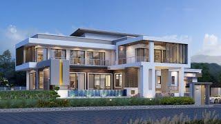 Проект дома в стиле хай тек. Дом с террасой и бассейном. Строительство домов - Ремстройсервис V-515
