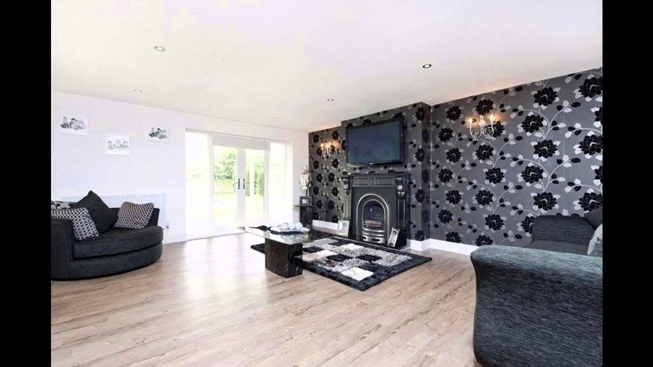 Fabulous black wallpaper living room decorating ideas for Front room feature wallpaper