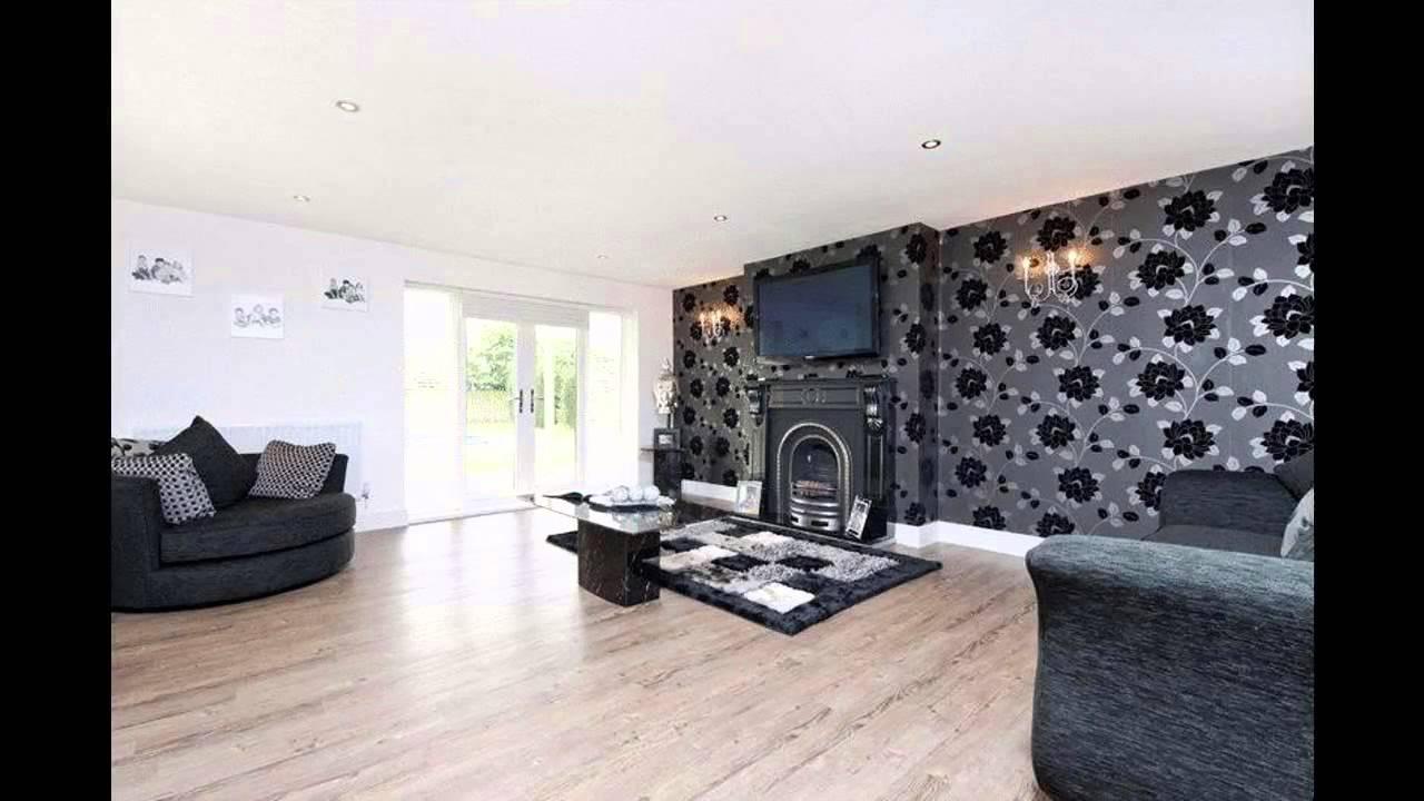 Fabulous Black wallpaper living room decorating ideas - YouTube