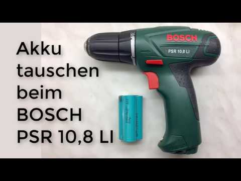 bosch psr 10 8 li akku tauschen youtube. Black Bedroom Furniture Sets. Home Design Ideas