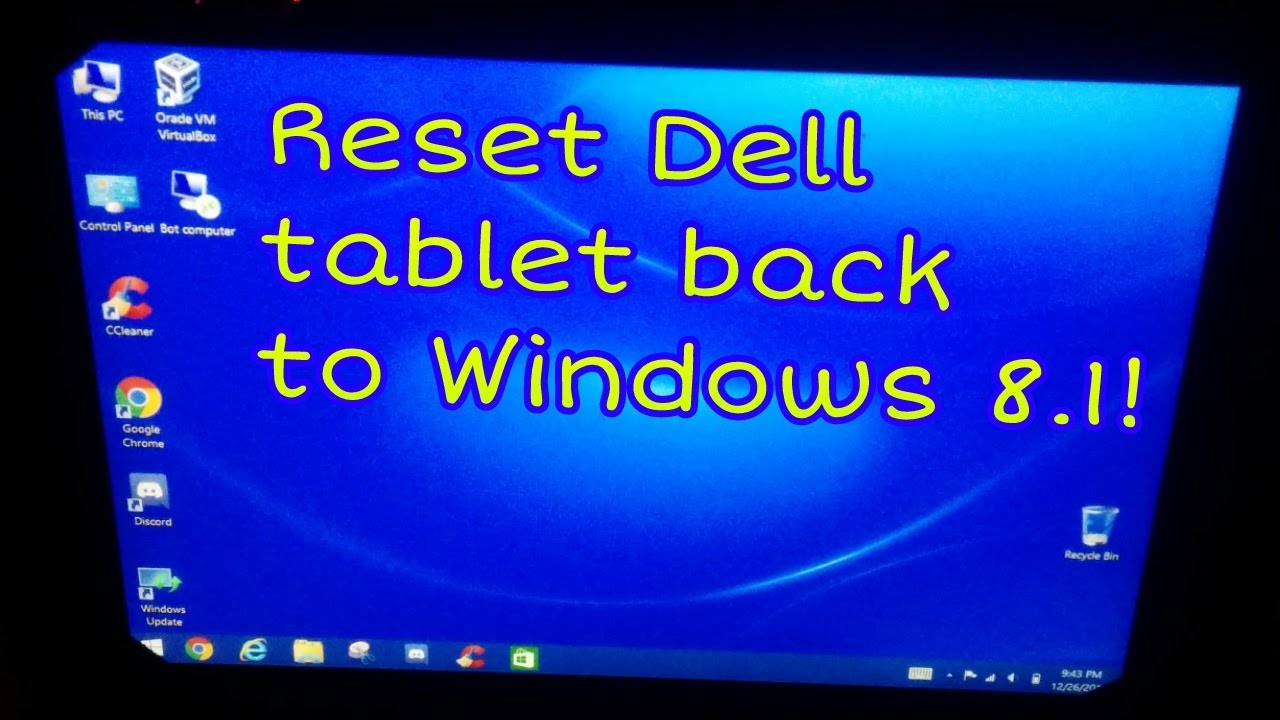 Resetting the Dell Venue 8 Pro 5830 back to Windows 8 1 after Windows 10  upgrade