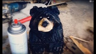 Lets Carve!  A Small Stump Bear  (chainsaw Carving)