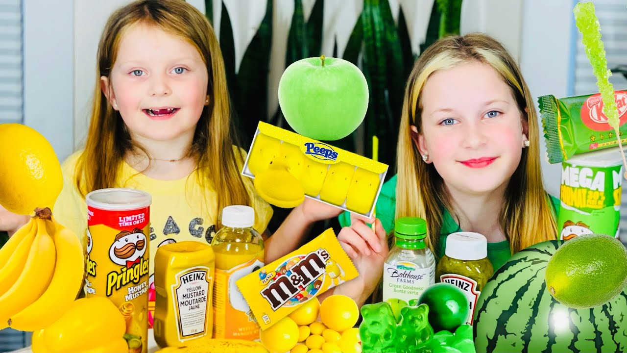 GREEN and YELLOW Color Food for 24 Hours Challenge with Sisters Play Toys