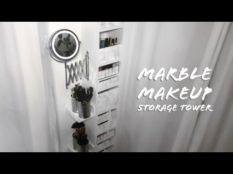 DIY MARBLE MAKEUP VANITY STORAGE HACK, ARGOS & IKEA (SMALL SPACES)
