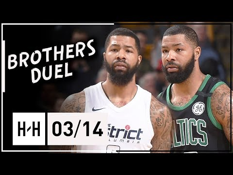 Markieff Morris vs Marcus Morris EPIC Twins Duel Highlights 2018.03.14 Celtics vs Wizards - MUST SEE
