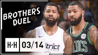Markieff Morris Vs Marcus Morris Epic Twins Duel Highlights 2018.03.14 Celtics Vs Wizards - Must See