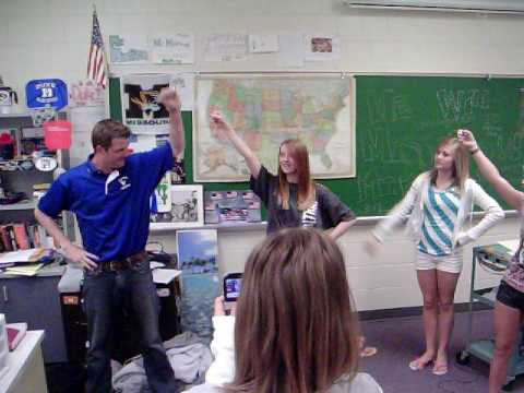 millard north middle school teacher doin a cheer