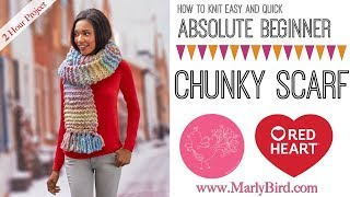 How to Knit Easy and Quick Absolute Beginner Chunky Scarf thumbnail