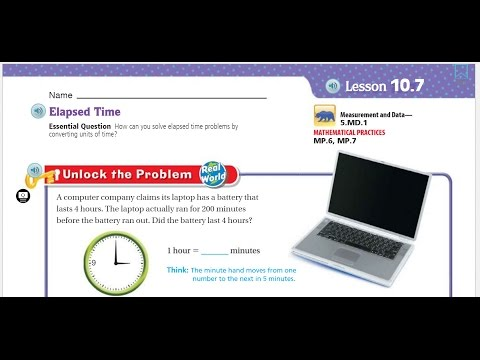 Go Math 5th Lesson 10.7 Elapsed Time