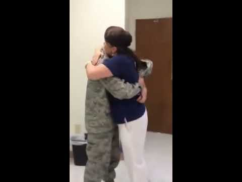 Military son surprises mom at work