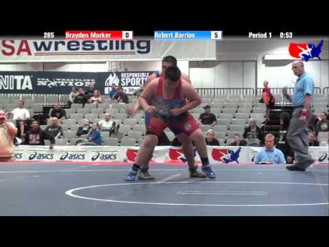 Brayden Marker vs. Robert Barrios at 2013 West Jr. Freestyle Regional