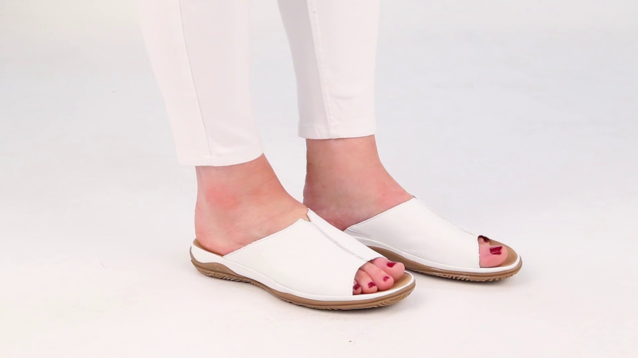 788329214 Gabor Idol White Leather Womens Wide Fit Casual Mules - YouTube