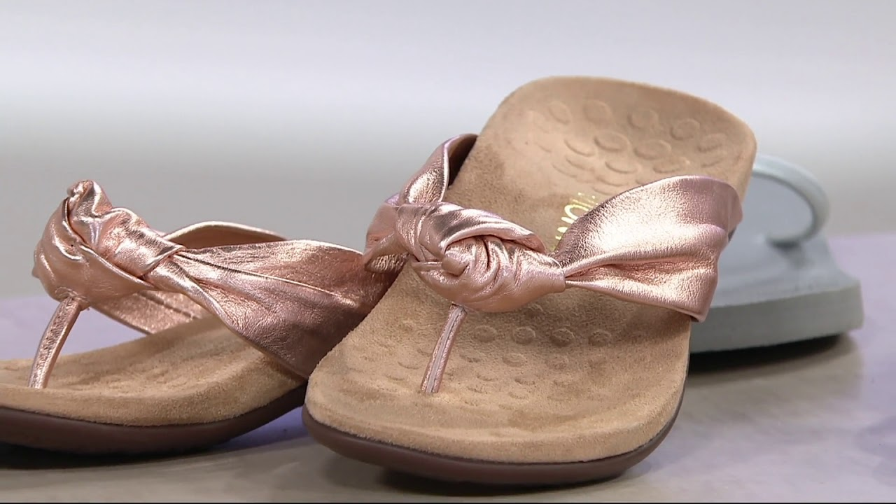 394ca01365354a Vionic Leather Knotted Thong Sandals - Pippa on QVC - YouTube