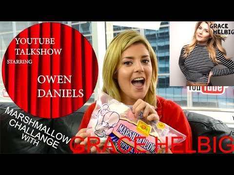 MARSHMALLOW CHALLENGE WITH GRACE HELBIG! - YouTube TalkShow With Owen Daniels