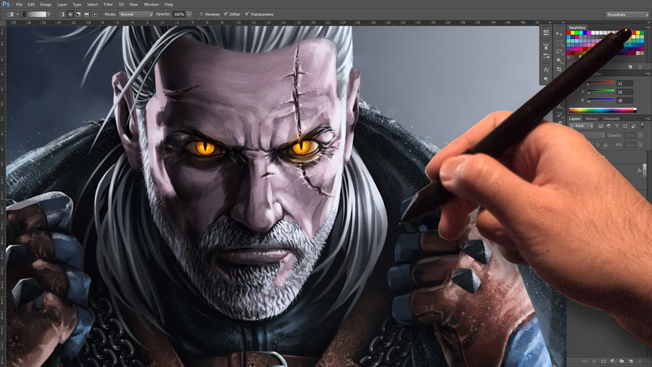 Geralt Of Rivia Speed Painting The Witcher 3 Wild Hunt