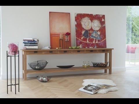Wohnzimmer modern und gemtlich einrichten Wohnidee  Sideboard Scott Teakholz  VARIA LIVING