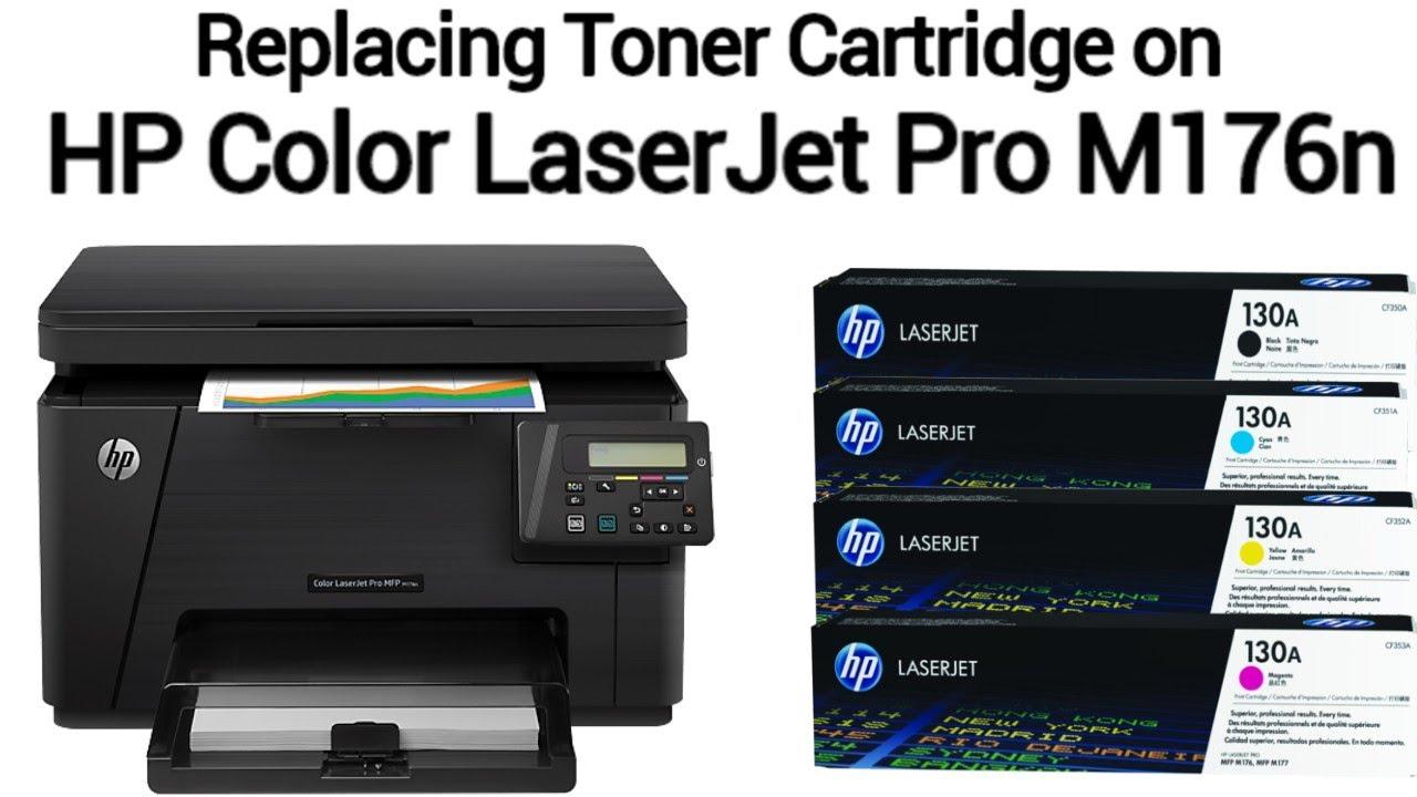 Replacing Toner Cartridges on HP Color Laserjet Pro M176n Printer - YouTube