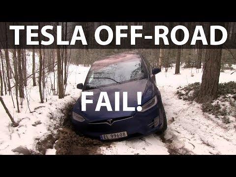 Tesla Model X winter off-roading