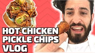 HOT CHICKEN PICKLE CHIPS VLOG Follow me on the journey of deliciousness as I create the never before seen nor tasted Hot Chicken Pickle Chips Check out the recipe  HowTo Video link ...