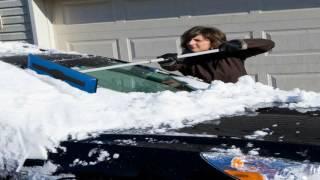 Snow Joe SJBLZD Telescoping Snow Broom with Ice Scraper