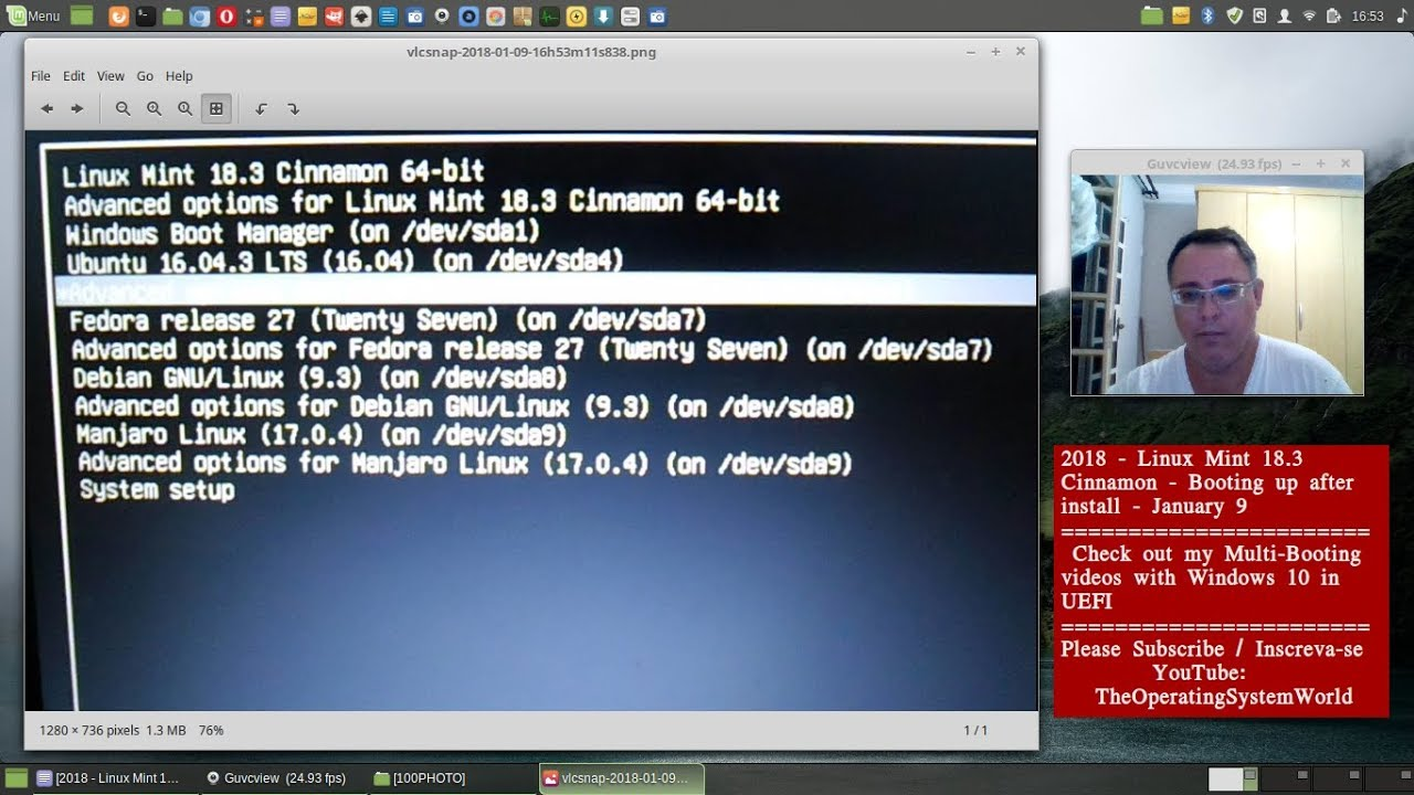 2018 - Linux Mint 18 3 Cinnamon - Booting up after install - January 9