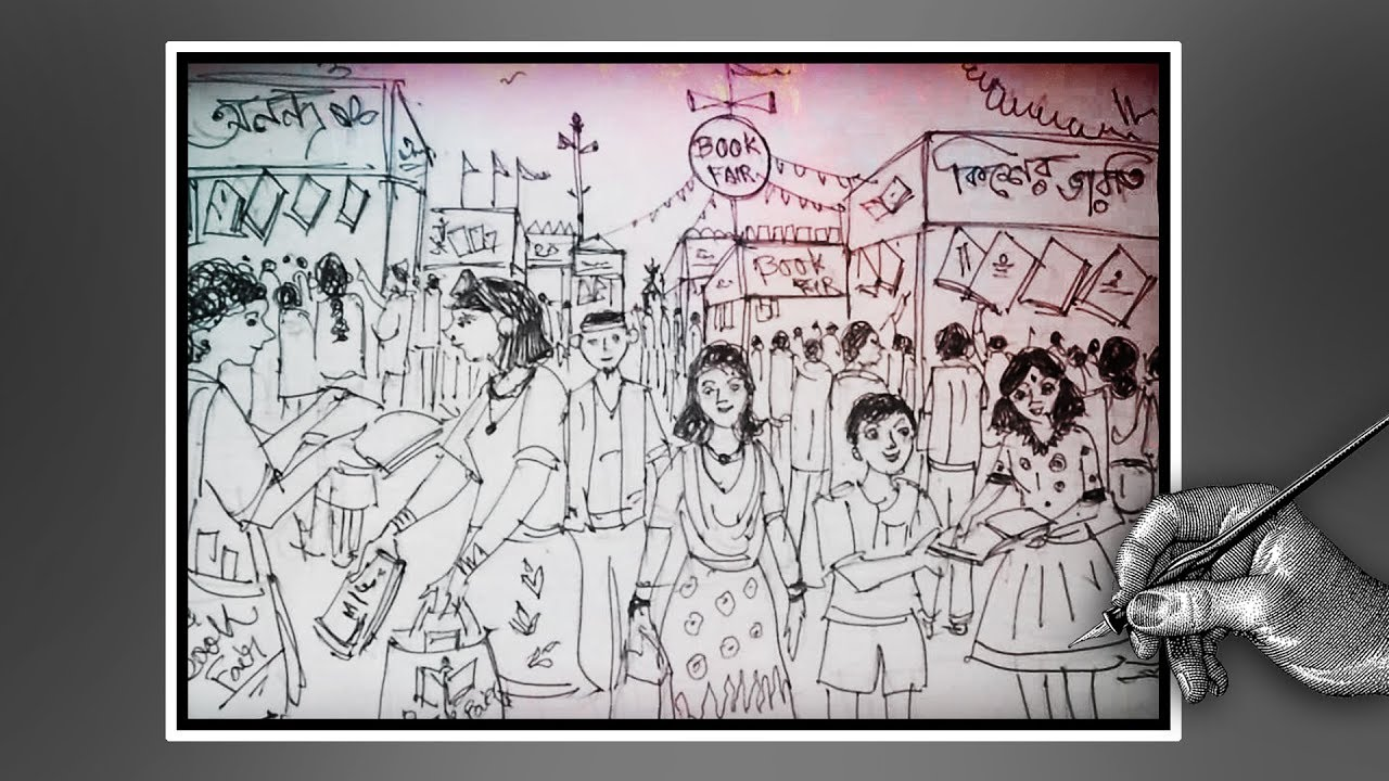 How to draw kolkata book fair book fair drowing with ballpoint pen speed drawing
