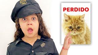 SARAH FINGE BRINCAR de POLICIAL e procura o GATINHO - Five Kids Police