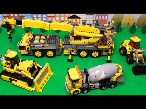 Lego Bulldozer, Concrete Mixer, Dump Truck, Crane, Tractors And Experemetal Cars And Trucks For Kids